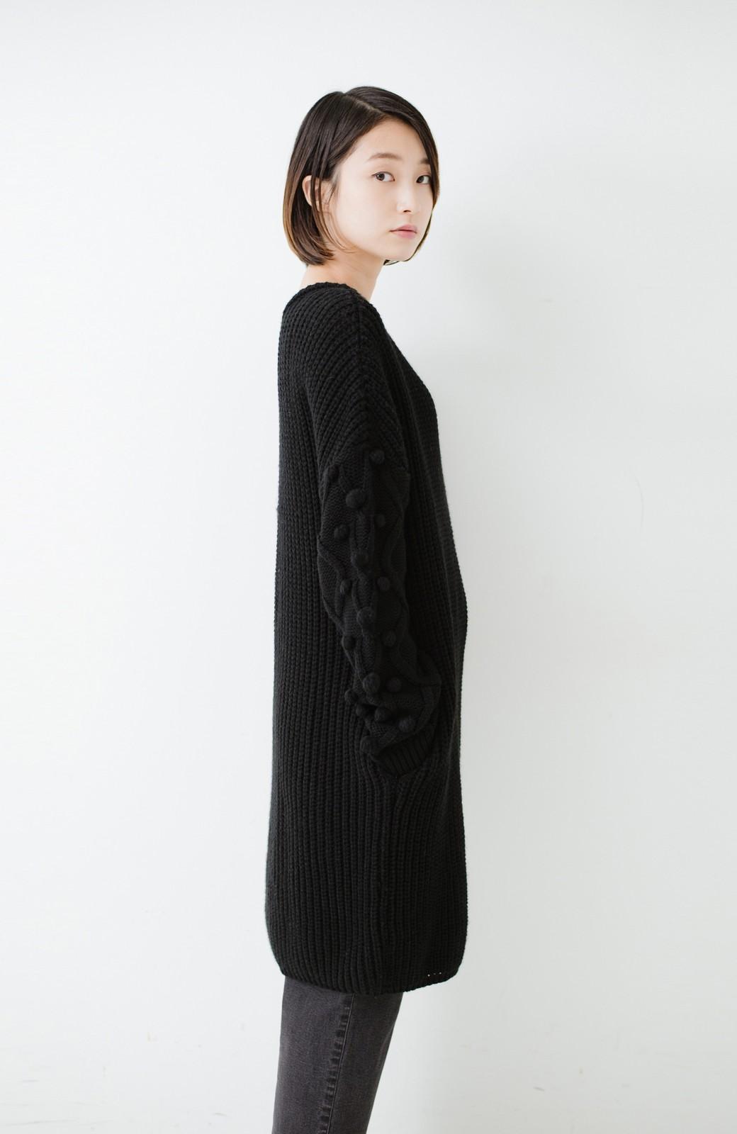 nusy パプコーン編みがかわいい おしゃれニットワンピ <ブラック>の商品写真16