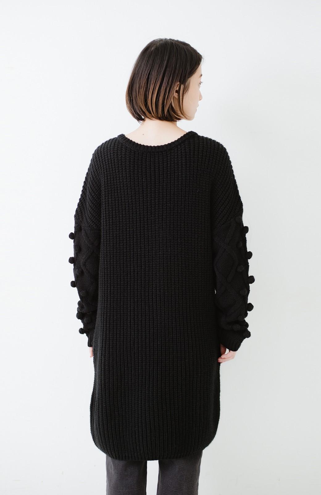 nusy パプコーン編みがかわいい おしゃれニットワンピ <ブラック>の商品写真17