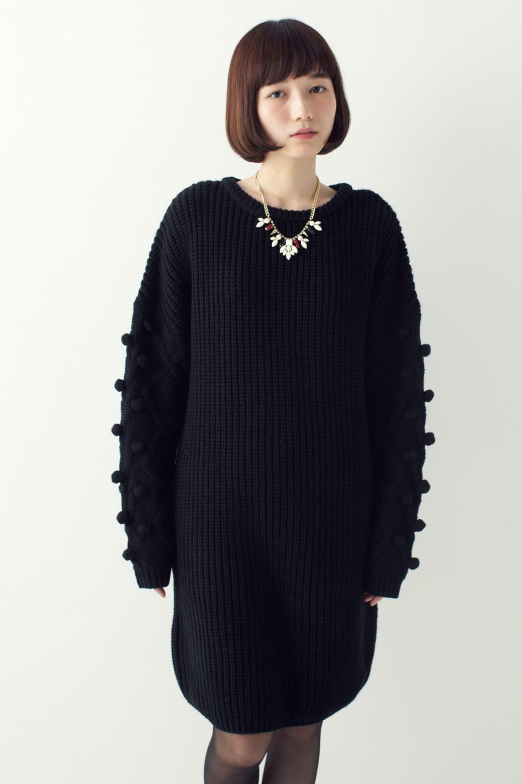 nusy パプコーン編みがかわいい おしゃれニットワンピ <ブラック>の商品写真10
