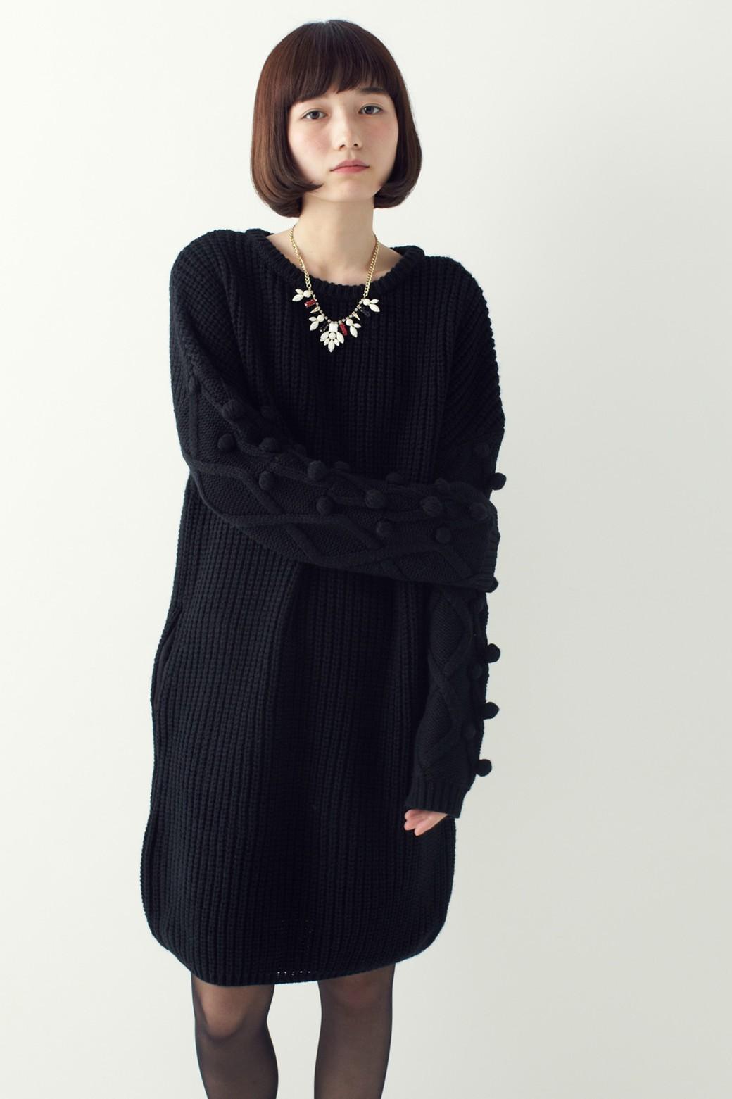nusy パプコーン編みがかわいい おしゃれニットワンピ <ブラック>の商品写真11