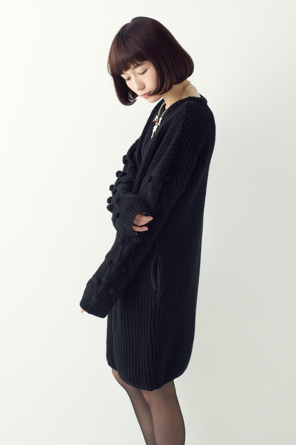 nusy パプコーン編みがかわいい おしゃれニットワンピ <ブラック>の商品写真12