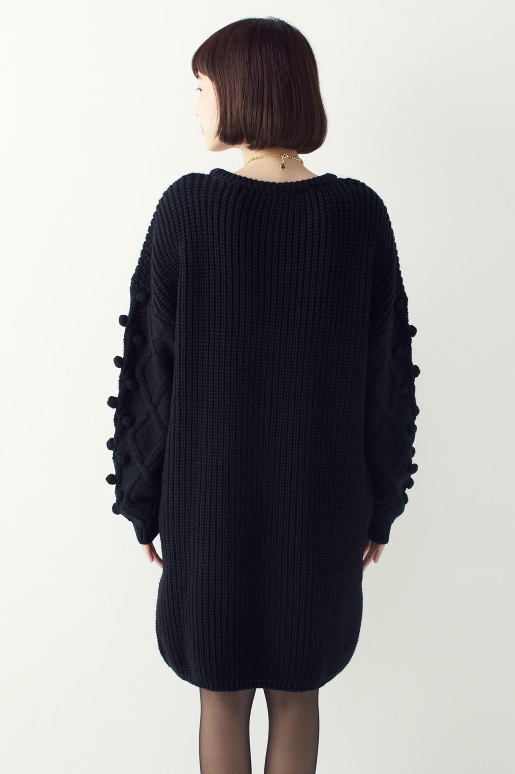 nusy パプコーン編みがかわいい おしゃれニットワンピ <ブラック>の商品写真13