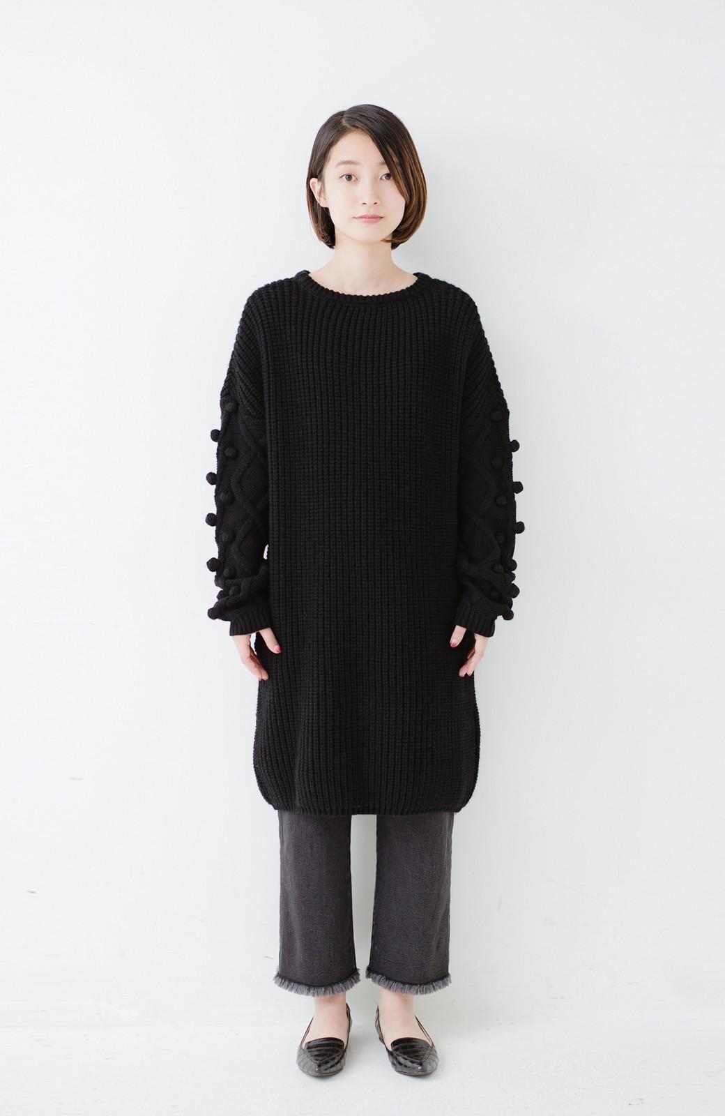 nusy パプコーン編みがかわいい おしゃれニットワンピ <ブラック>の商品写真4