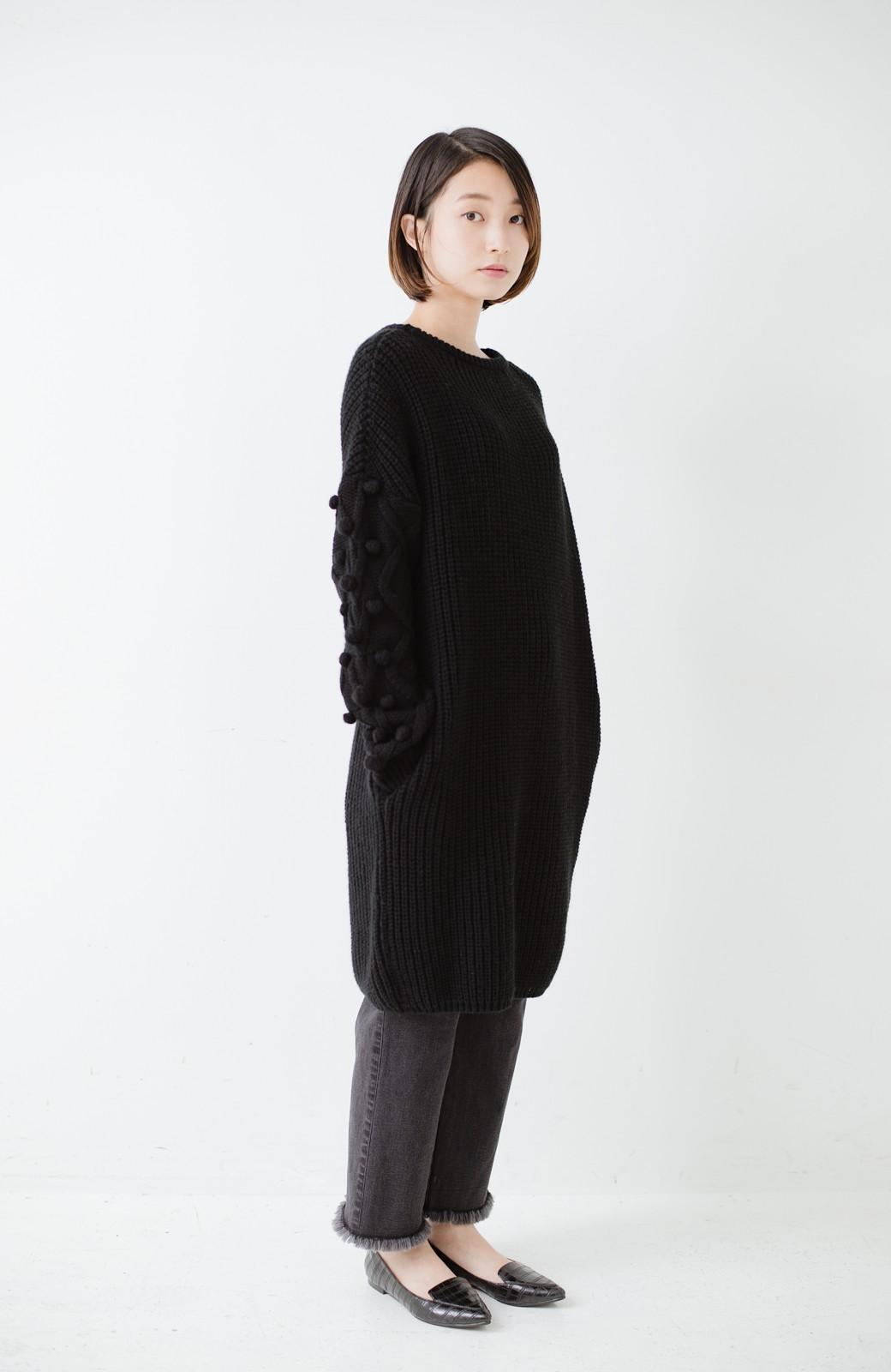 nusy パプコーン編みがかわいい おしゃれニットワンピ <ブラック>の商品写真8