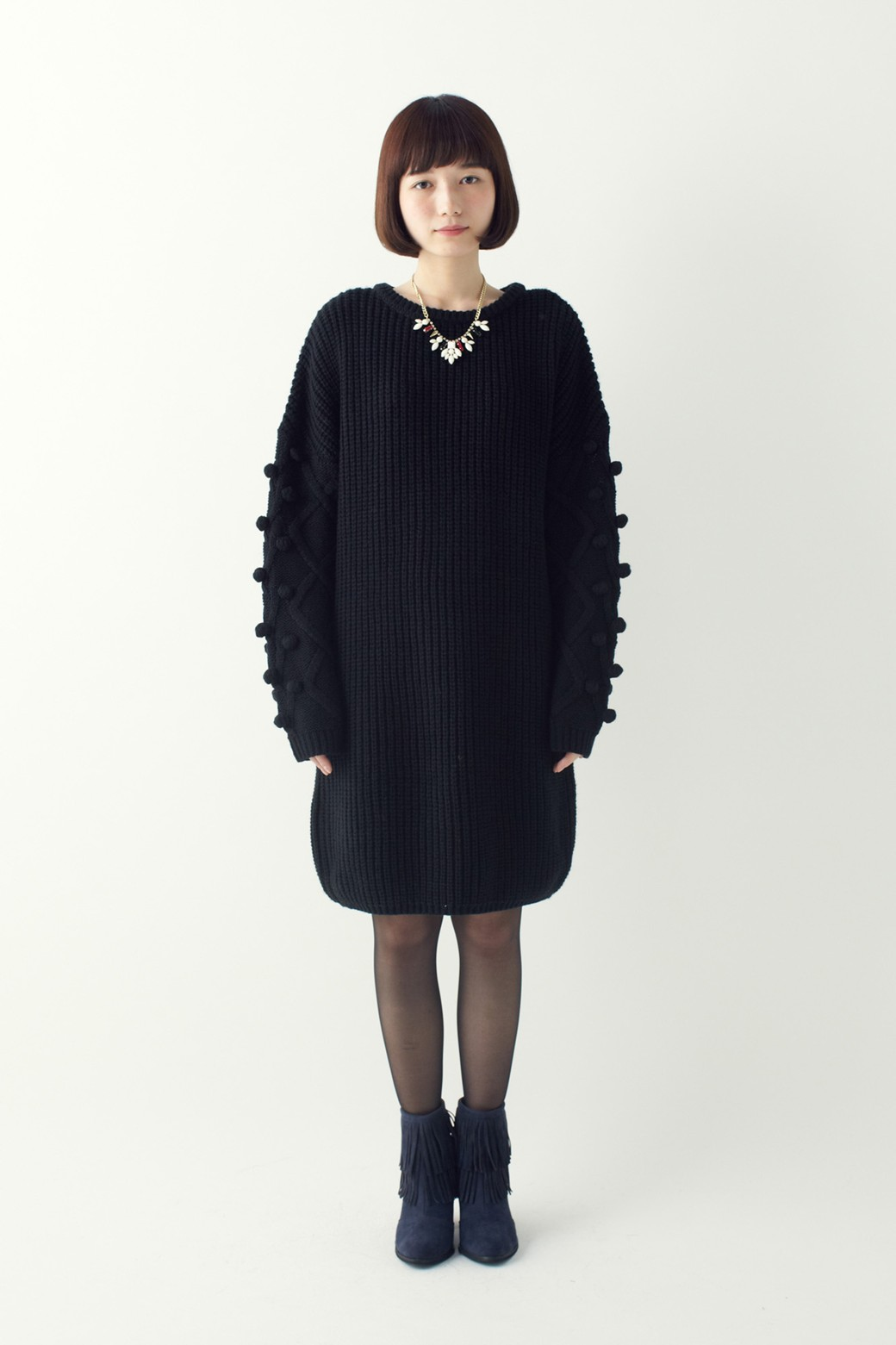 nusy パプコーン編みがかわいい おしゃれニットワンピ <ブラック>の商品写真6