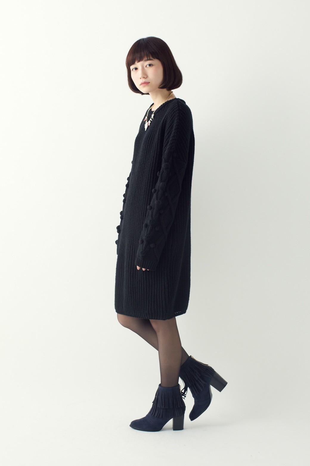 nusy パプコーン編みがかわいい おしゃれニットワンピ <ブラック>の商品写真7