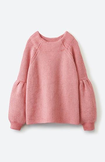 haco! 女子度があがる あぜ編みふわスリーブニット <ピンク>の商品写真