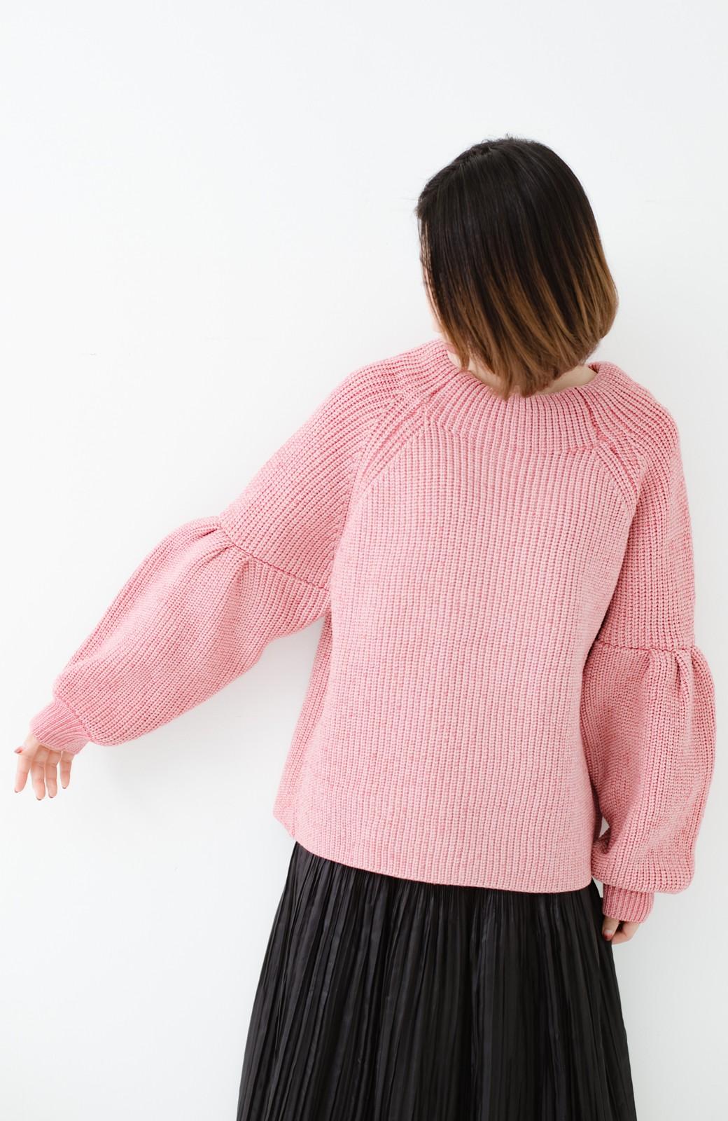haco! 女子度があがる あぜ編みふわスリーブニット <ピンク>の商品写真7