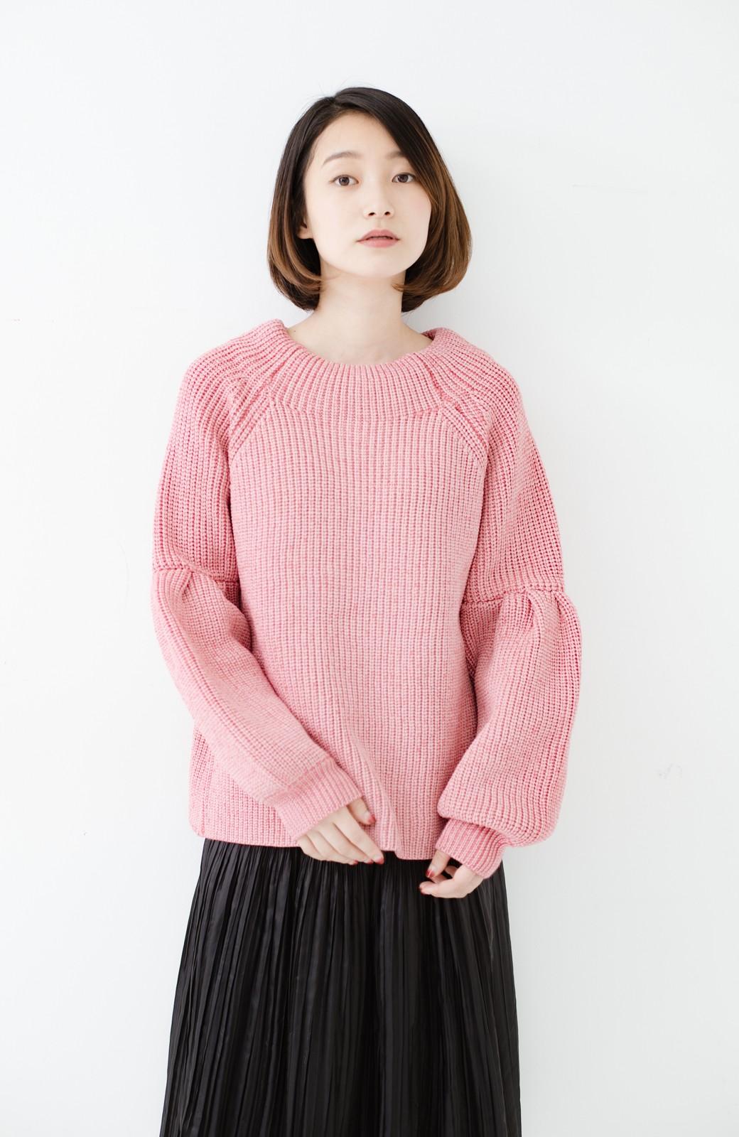 haco! 女子度があがる あぜ編みふわスリーブニット <ピンク>の商品写真8