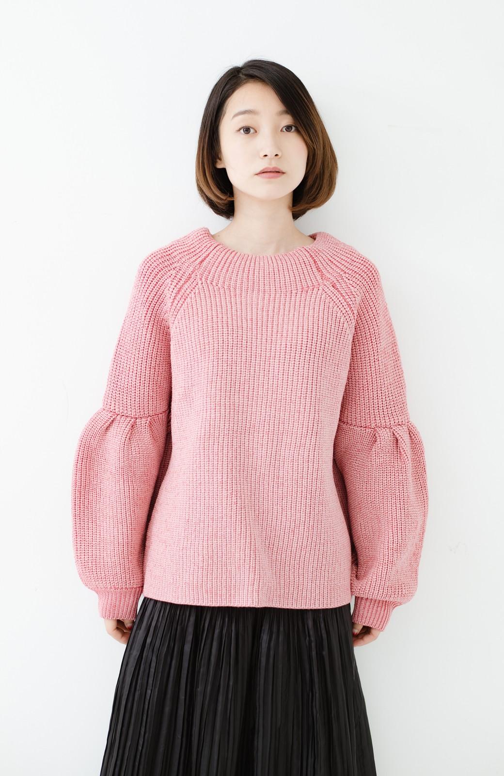 haco! 女子度があがる あぜ編みふわスリーブニット <ピンク>の商品写真9