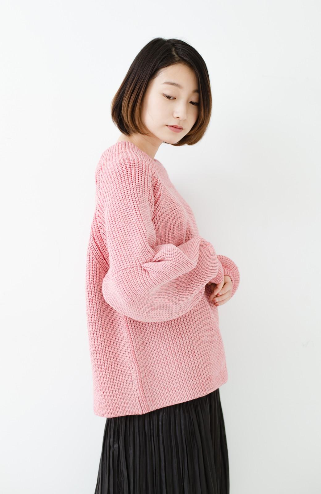 haco! 女子度があがる あぜ編みふわスリーブニット <ピンク>の商品写真12