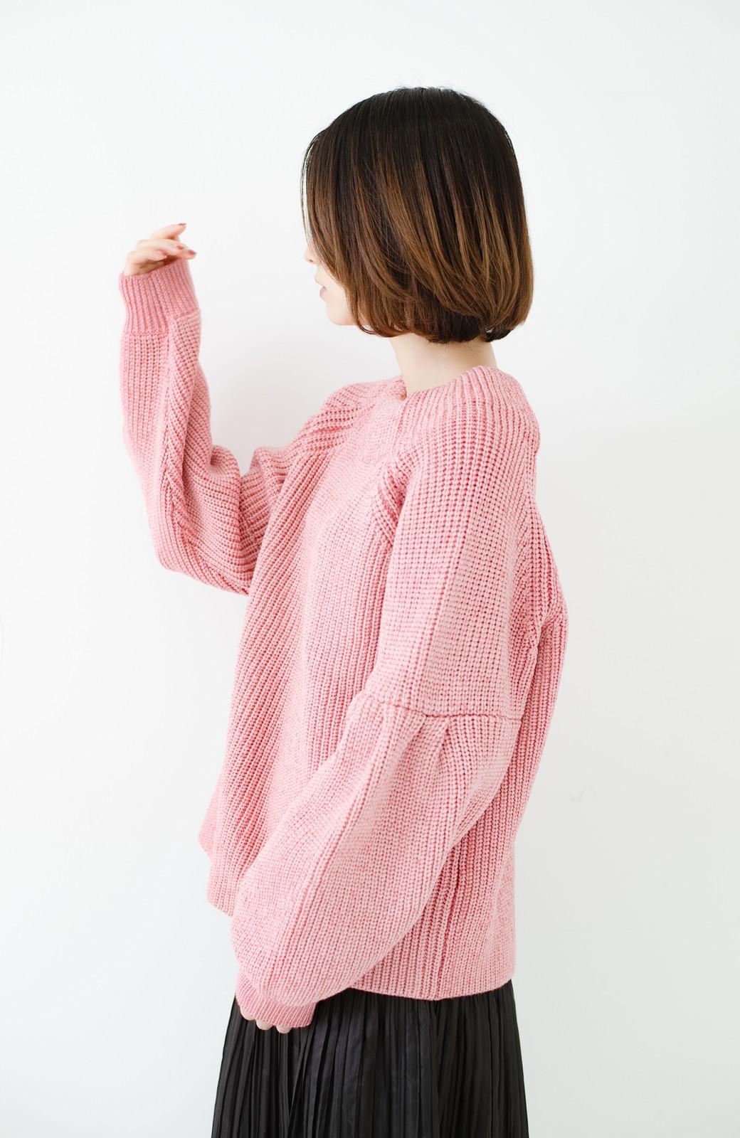 haco! 女子度があがる あぜ編みふわスリーブニット <ピンク>の商品写真13