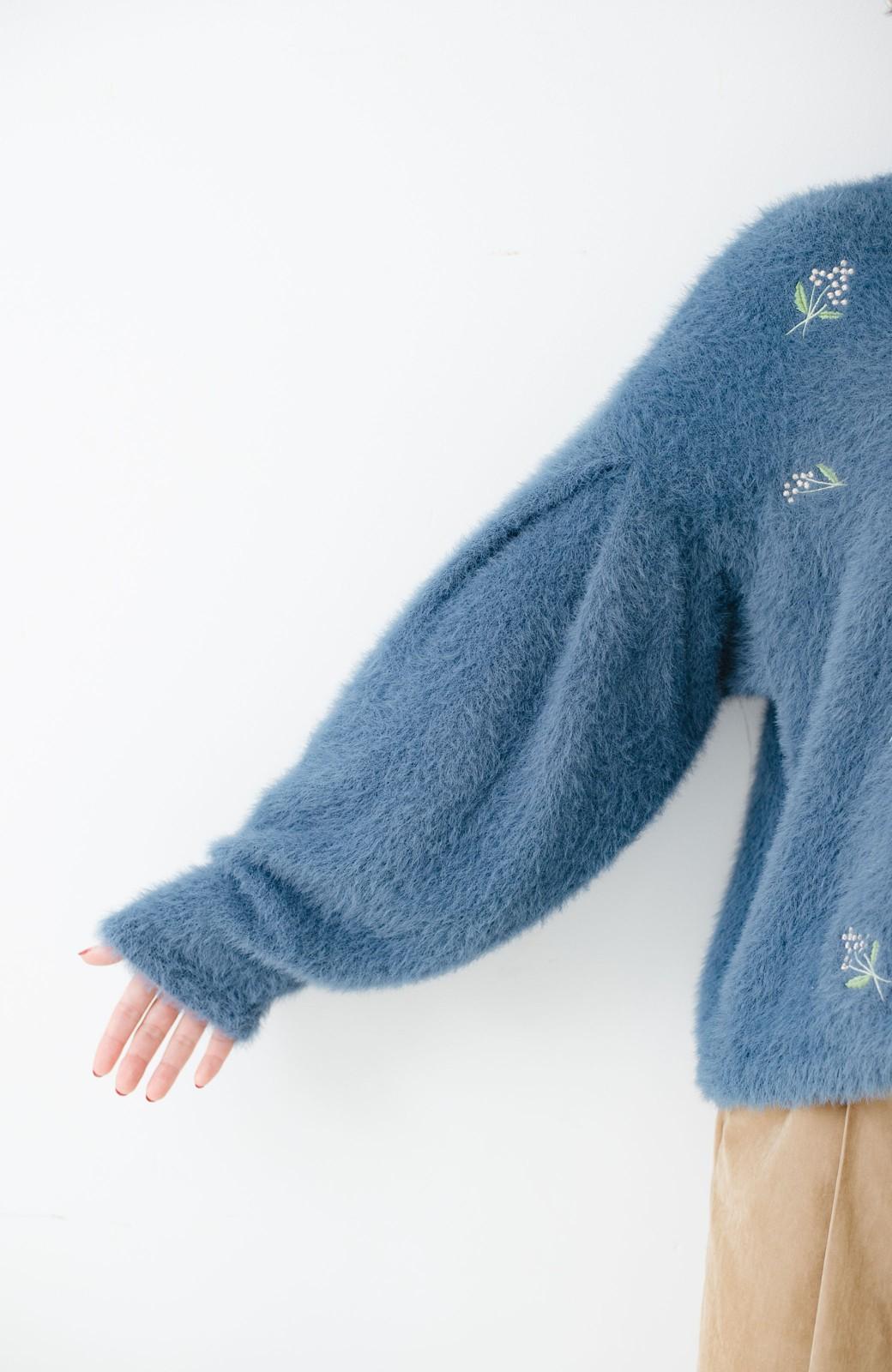 haco! 女のコっぽくてとにかくかわいい ふわふわ刺しゅうニット <ブルー>の商品写真3
