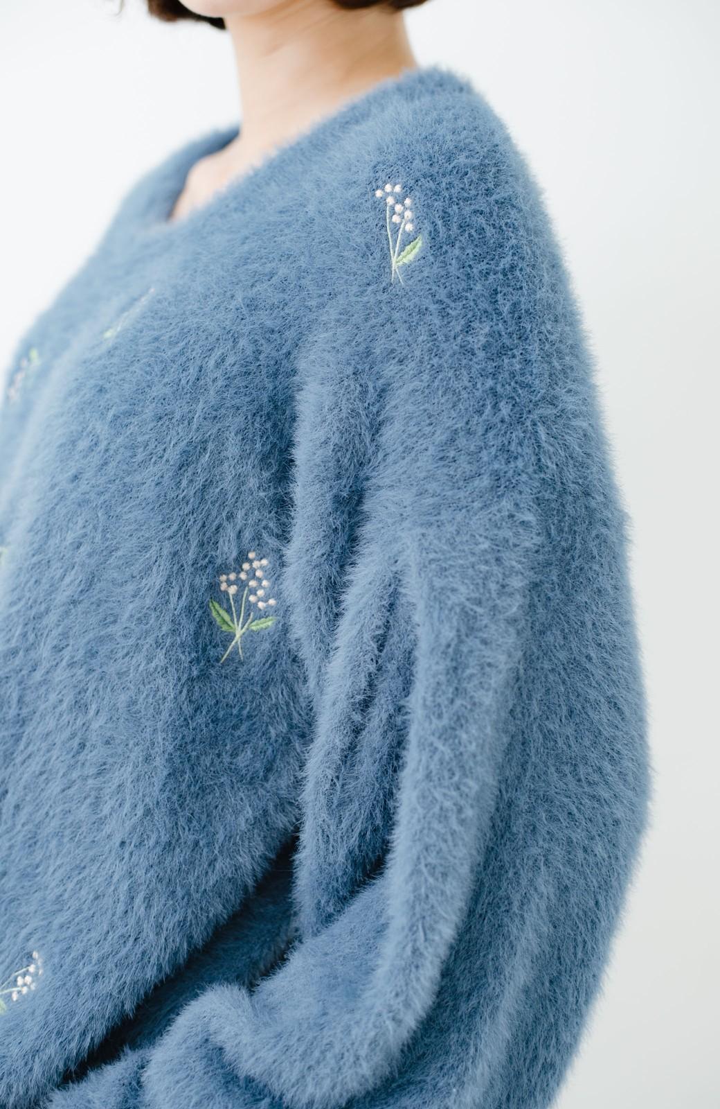 haco! 女のコっぽくてとにかくかわいい ふわふわ刺しゅうニット <ブルー>の商品写真5