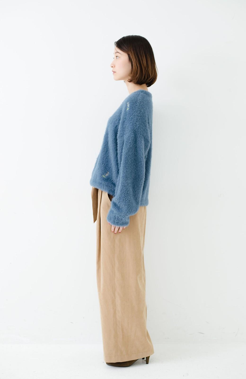 haco! 女のコっぽくてとにかくかわいい ふわふわ刺しゅうニット <ブルー>の商品写真8