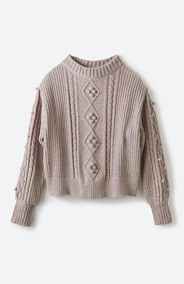 haco! パプコーン編みのモールヤーンショートニット <ベージュ>の商品写真