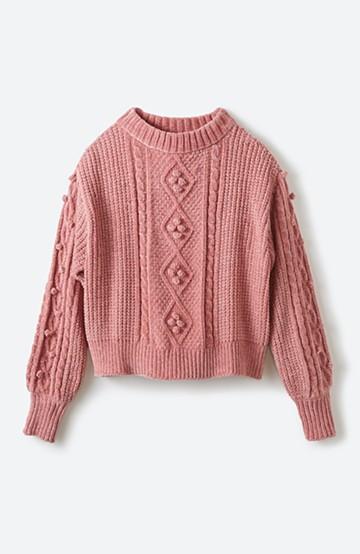 haco! パプコーン編みのモールヤーンショートニット <ピンク>の商品写真