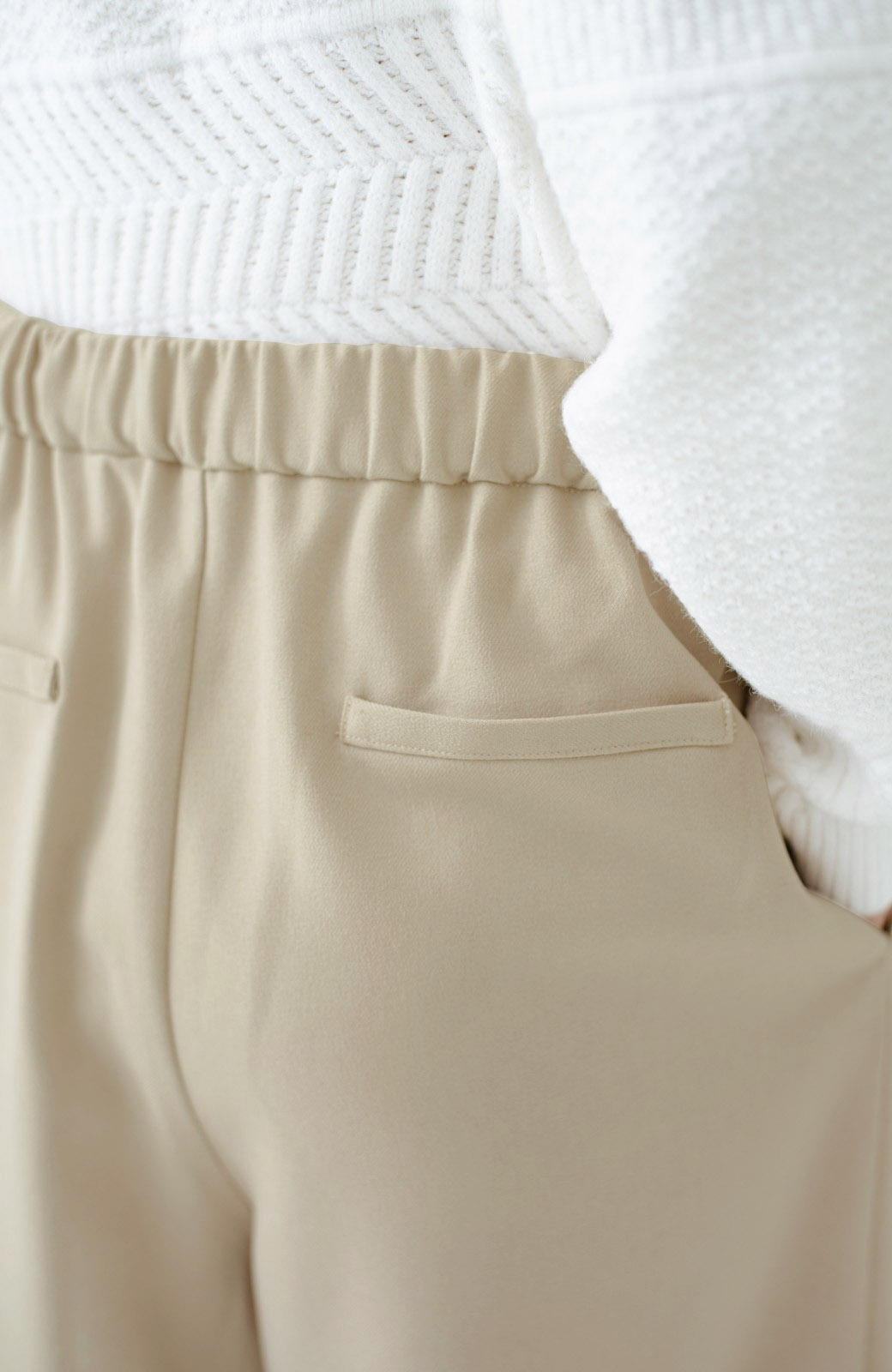haco! 洗濯機で洗える ラップデザインワイドパンツ <ベージュ>の商品写真10