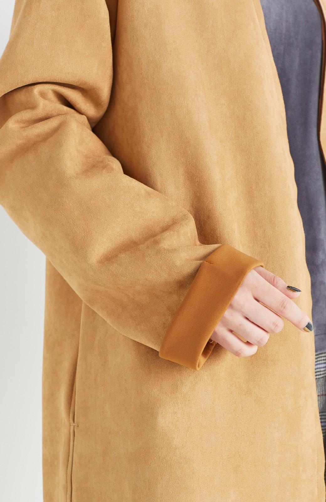 haco! さっと羽織れてロングシーズン楽しめる フェイクスエードガウン <キャメル>の商品写真6