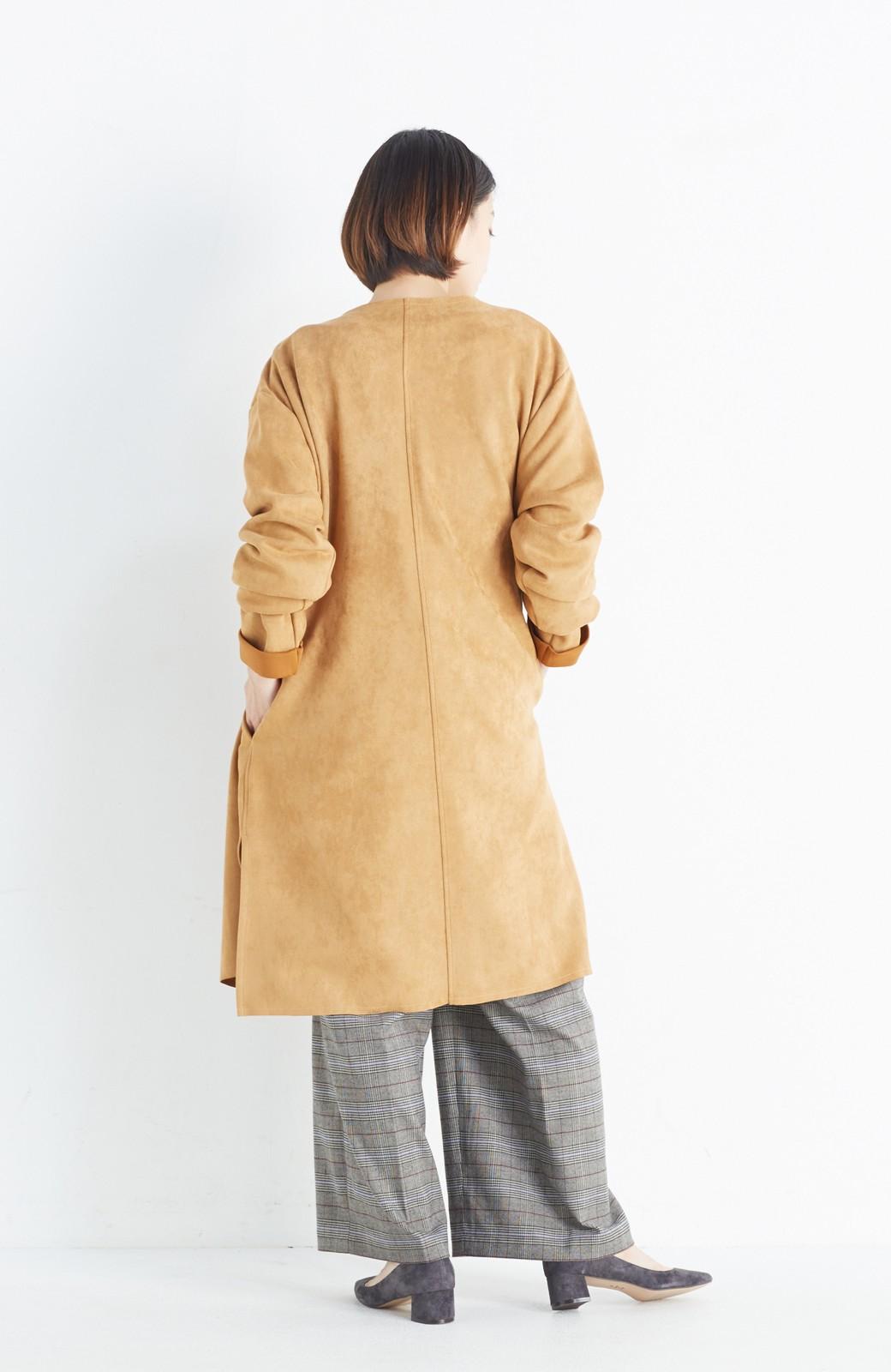haco! さっと羽織れてロングシーズン楽しめる フェイクスエードガウン <キャメル>の商品写真13
