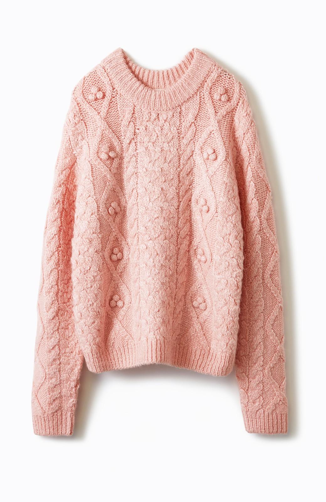 haco! 古着屋さんで見つけたようなもっふりケーブル編みセーター <ピンク>の商品写真1