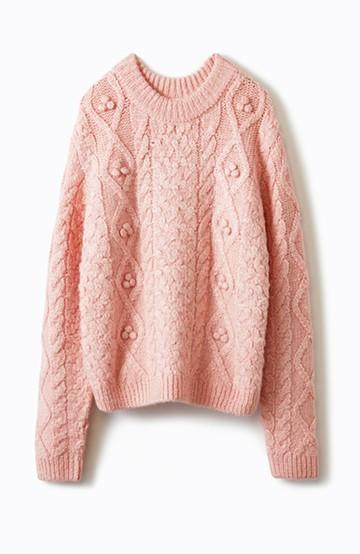 haco! 古着屋さんで見つけたようなもっふりケーブル編みセーター <ピンク>の商品写真