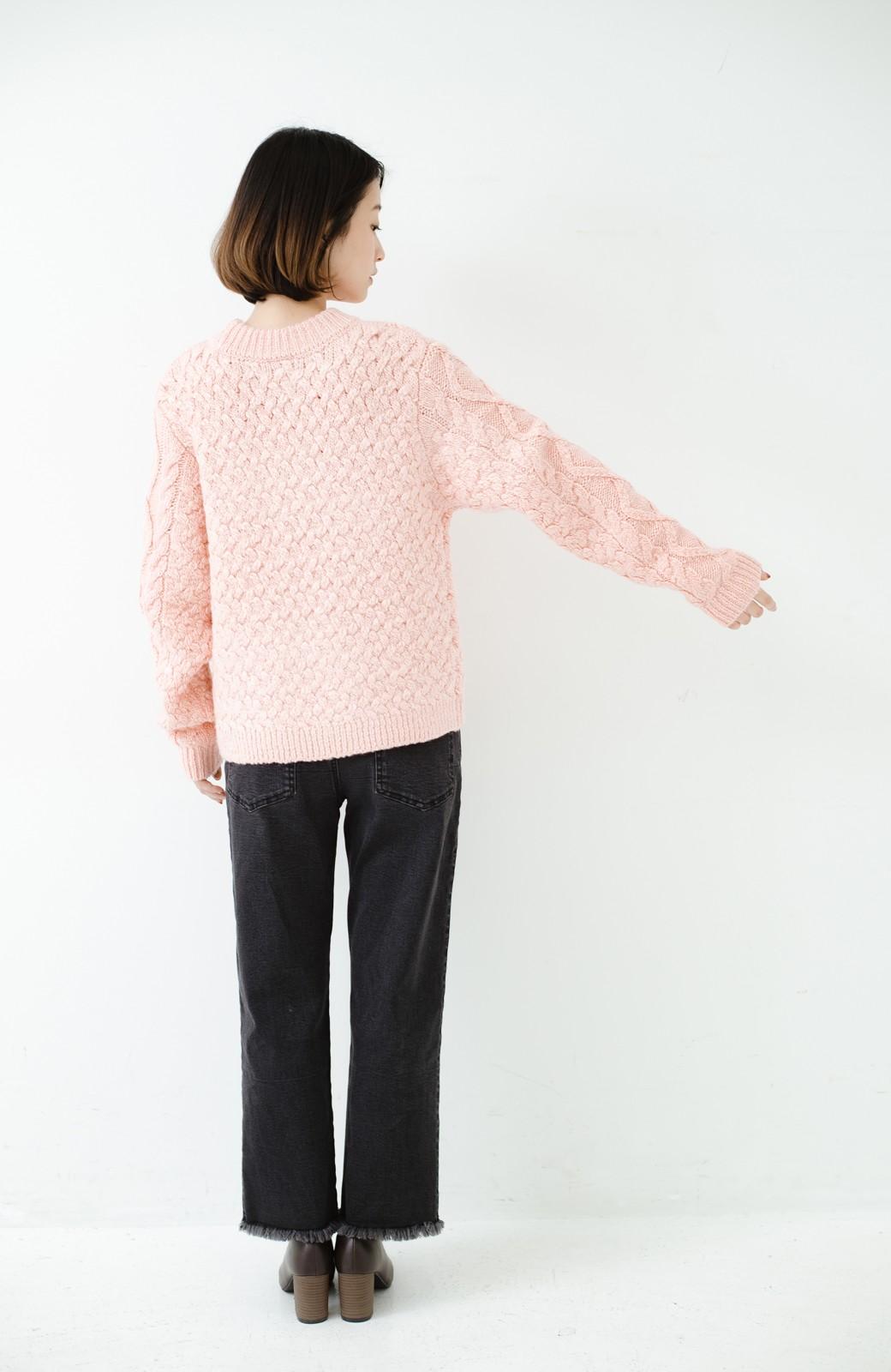 haco! 古着屋さんで見つけたようなもっふりケーブル編みセーター <ピンク>の商品写真12