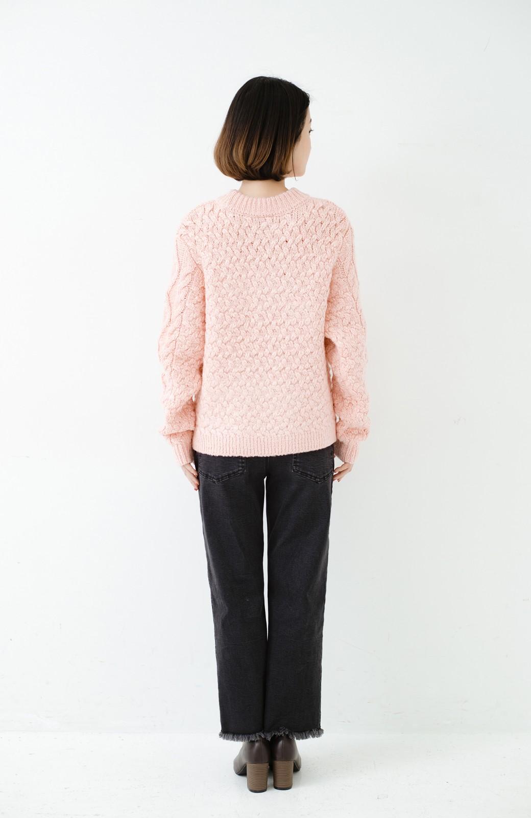 haco! 古着屋さんで見つけたようなもっふりケーブル編みセーター <ピンク>の商品写真13