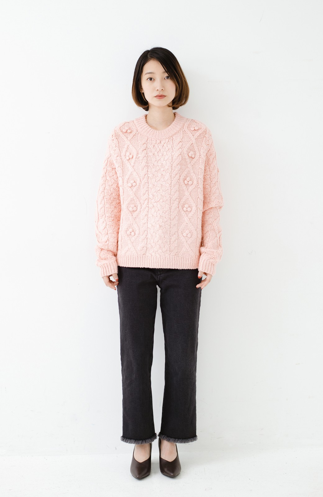 haco! 古着屋さんで見つけたようなもっふりケーブル編みセーター <ピンク>の商品写真7