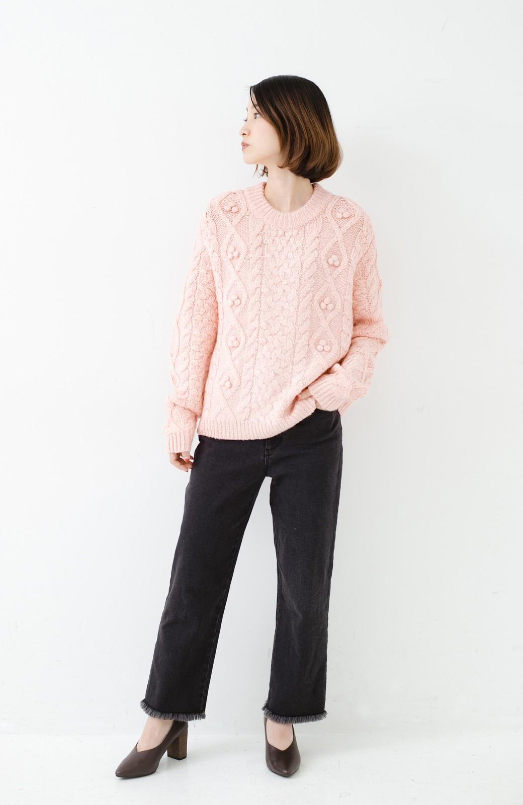haco! 古着屋さんで見つけたようなもっふりケーブル編みセーター <ピンク>の商品写真8