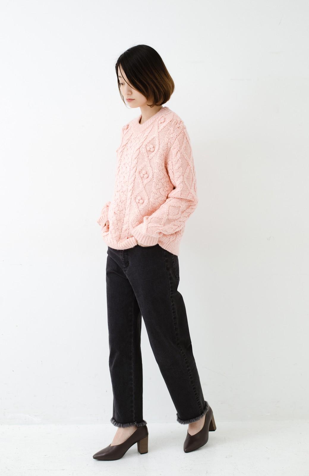 haco! 古着屋さんで見つけたようなもっふりケーブル編みセーター <ピンク>の商品写真9