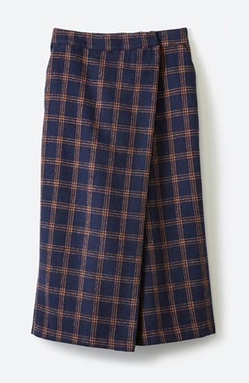 haco! スカート気分ではけて動きやすい 大人チェックスカーチョ <ネイビー>の商品写真