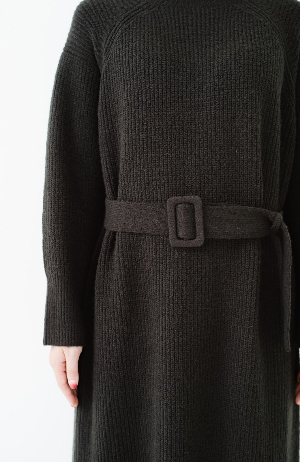 haco! 今っぽ女っぽ ベルト付きゆるタートルニットワンピ <ブラック>の商品写真3