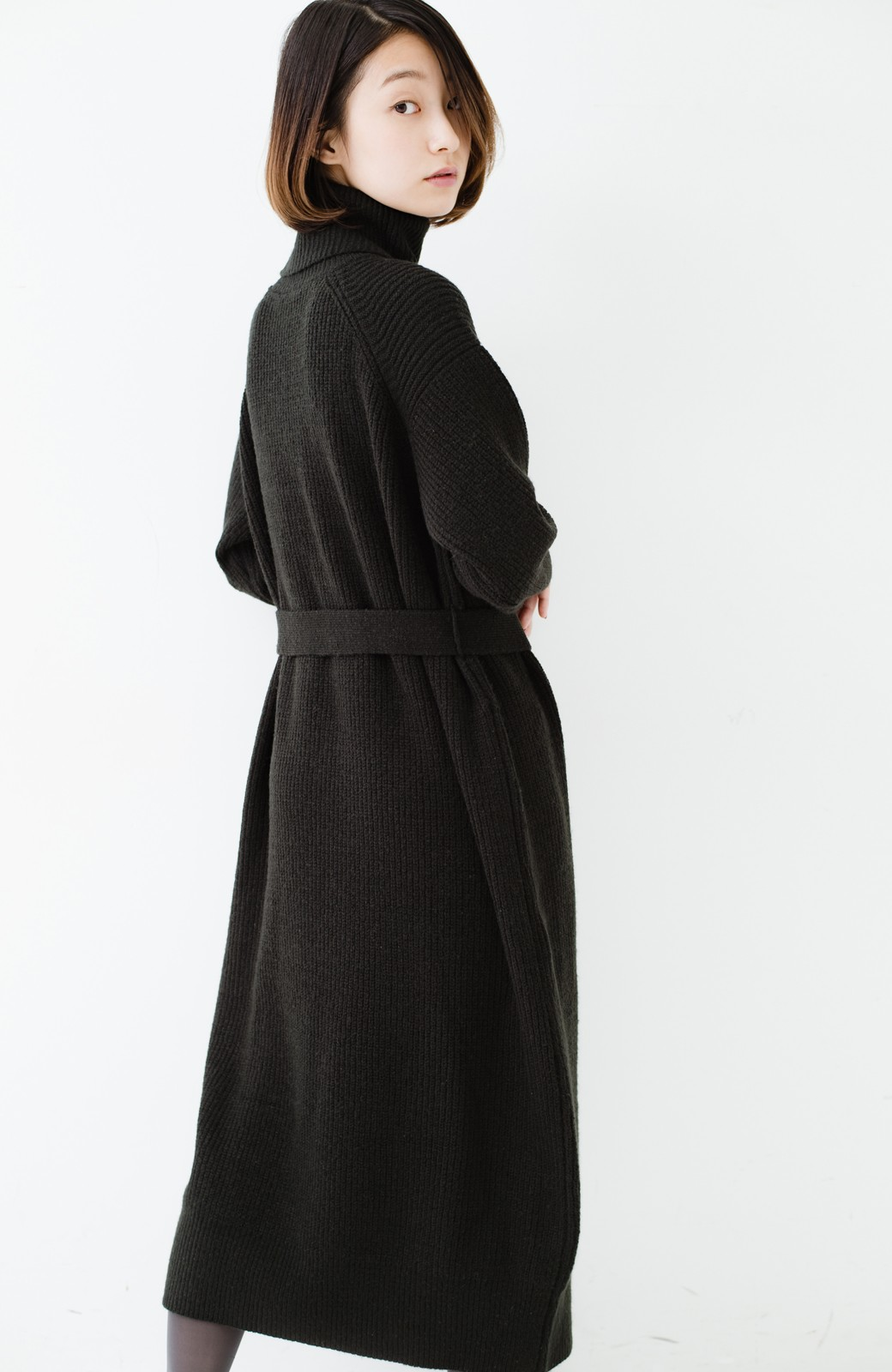 haco! 今っぽ女っぽ ベルト付きゆるタートルニットワンピ <ブラック>の商品写真24