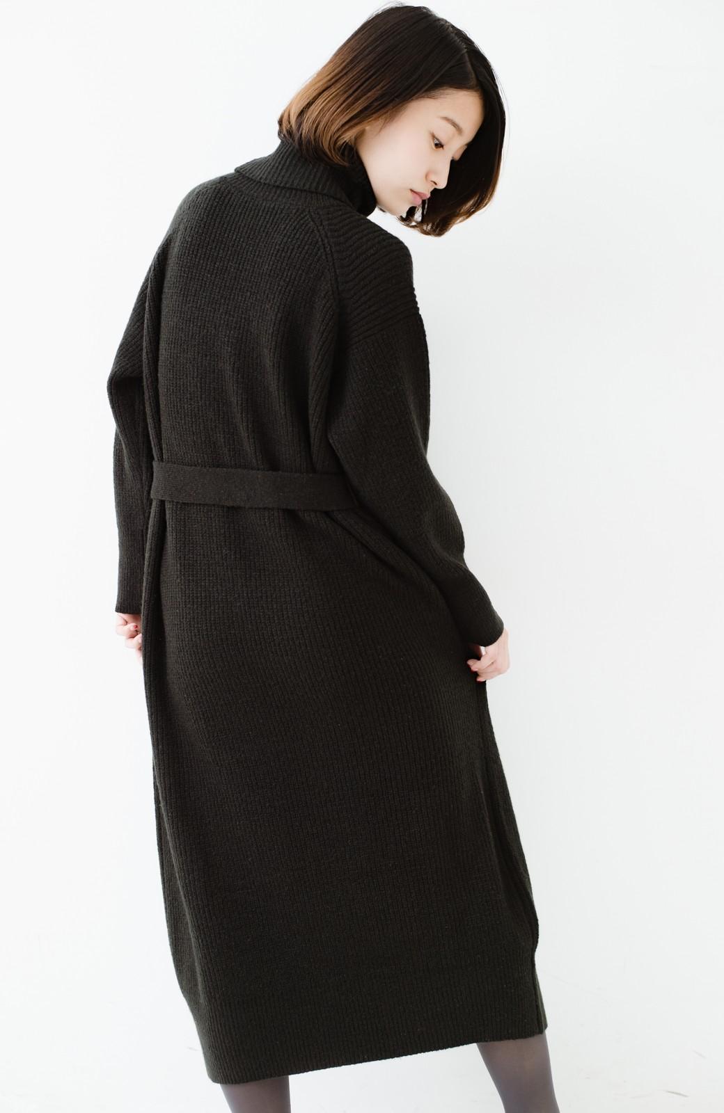 haco! 今っぽ女っぽ ベルト付きゆるタートルニットワンピ <ブラック>の商品写真25