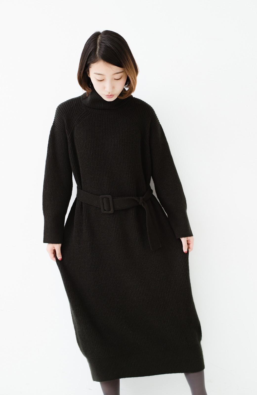 haco! 今っぽ女っぽ ベルト付きゆるタートルニットワンピ <ブラック>の商品写真16