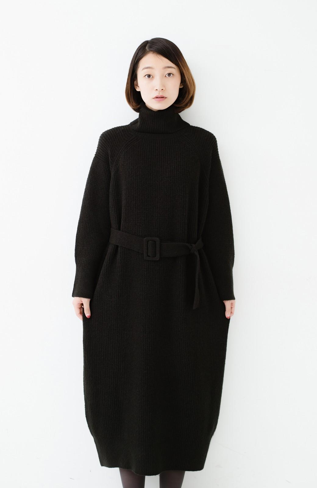 haco! 今っぽ女っぽ ベルト付きゆるタートルニットワンピ <ブラック>の商品写真17