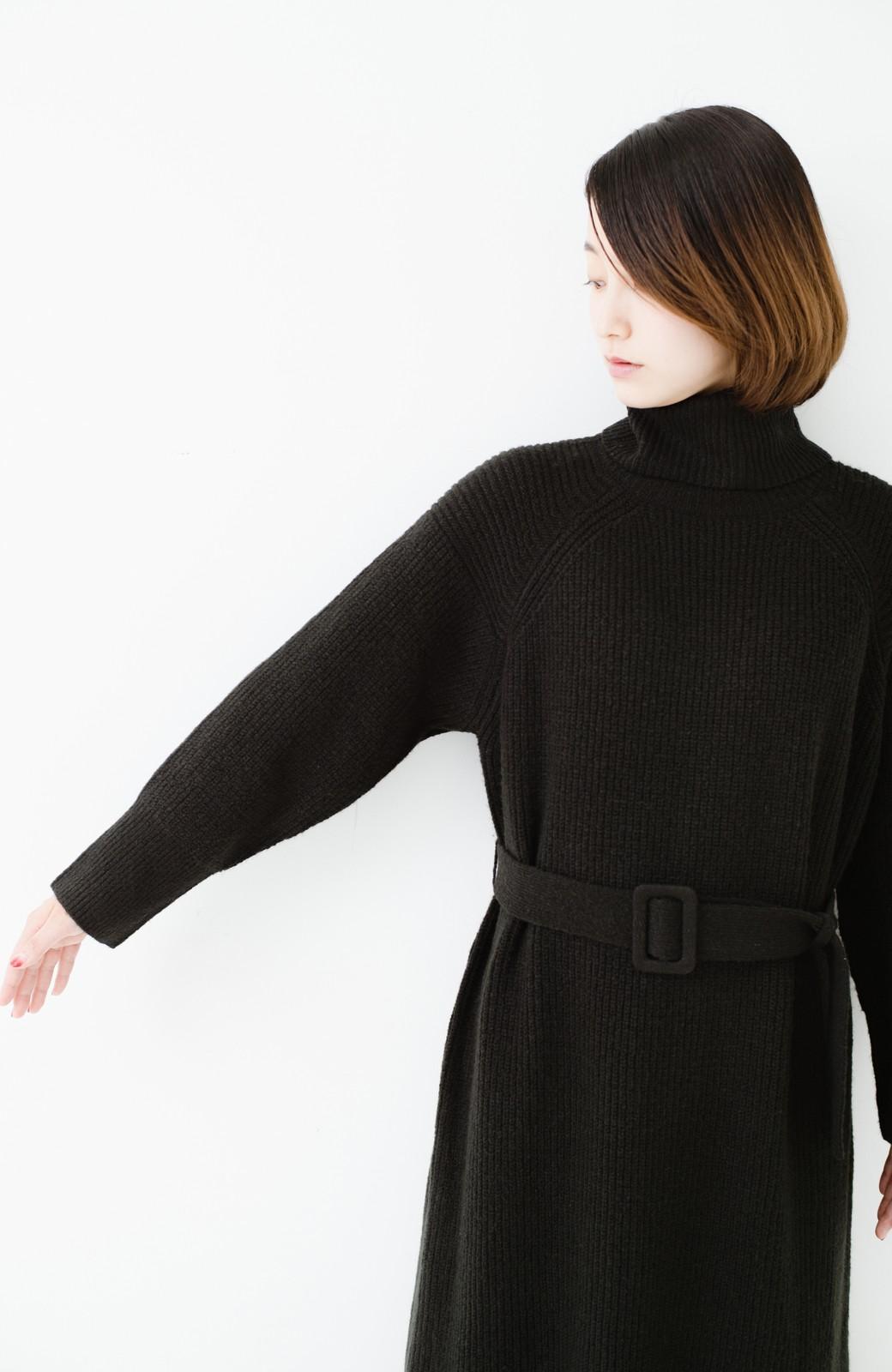 haco! 今っぽ女っぽ ベルト付きゆるタートルニットワンピ <ブラック>の商品写真19