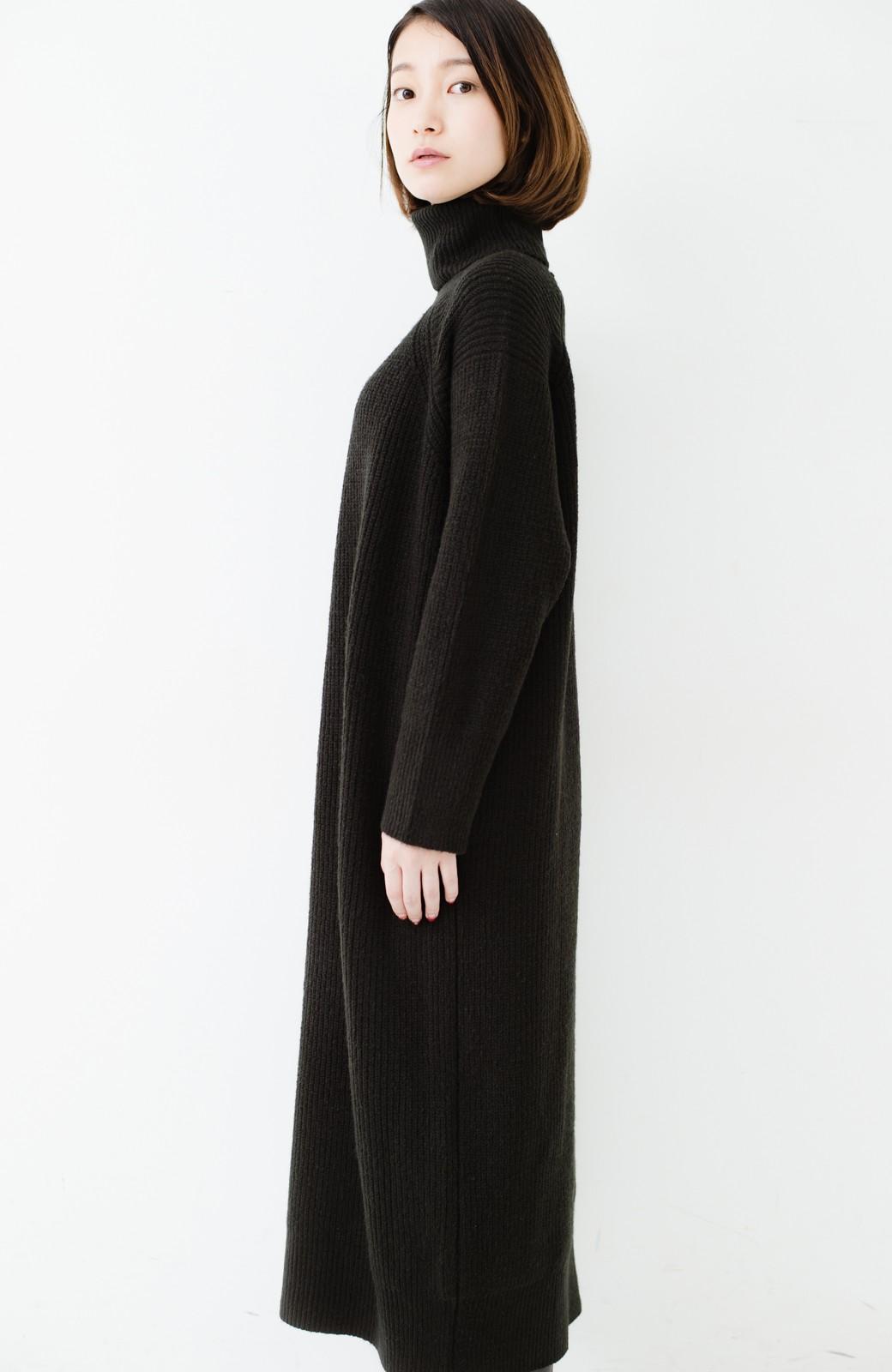 haco! 今っぽ女っぽ ベルト付きゆるタートルニットワンピ <ブラック>の商品写真23