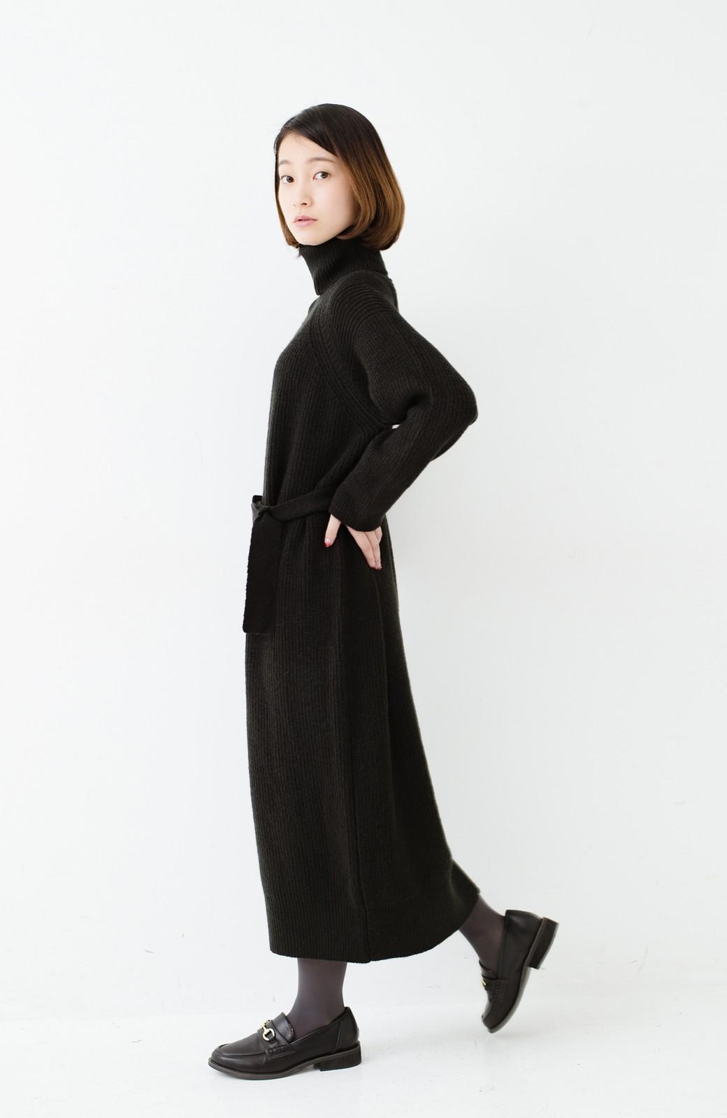haco! 今っぽ女っぽ ベルト付きゆるタートルニットワンピ <ブラック>の商品写真11