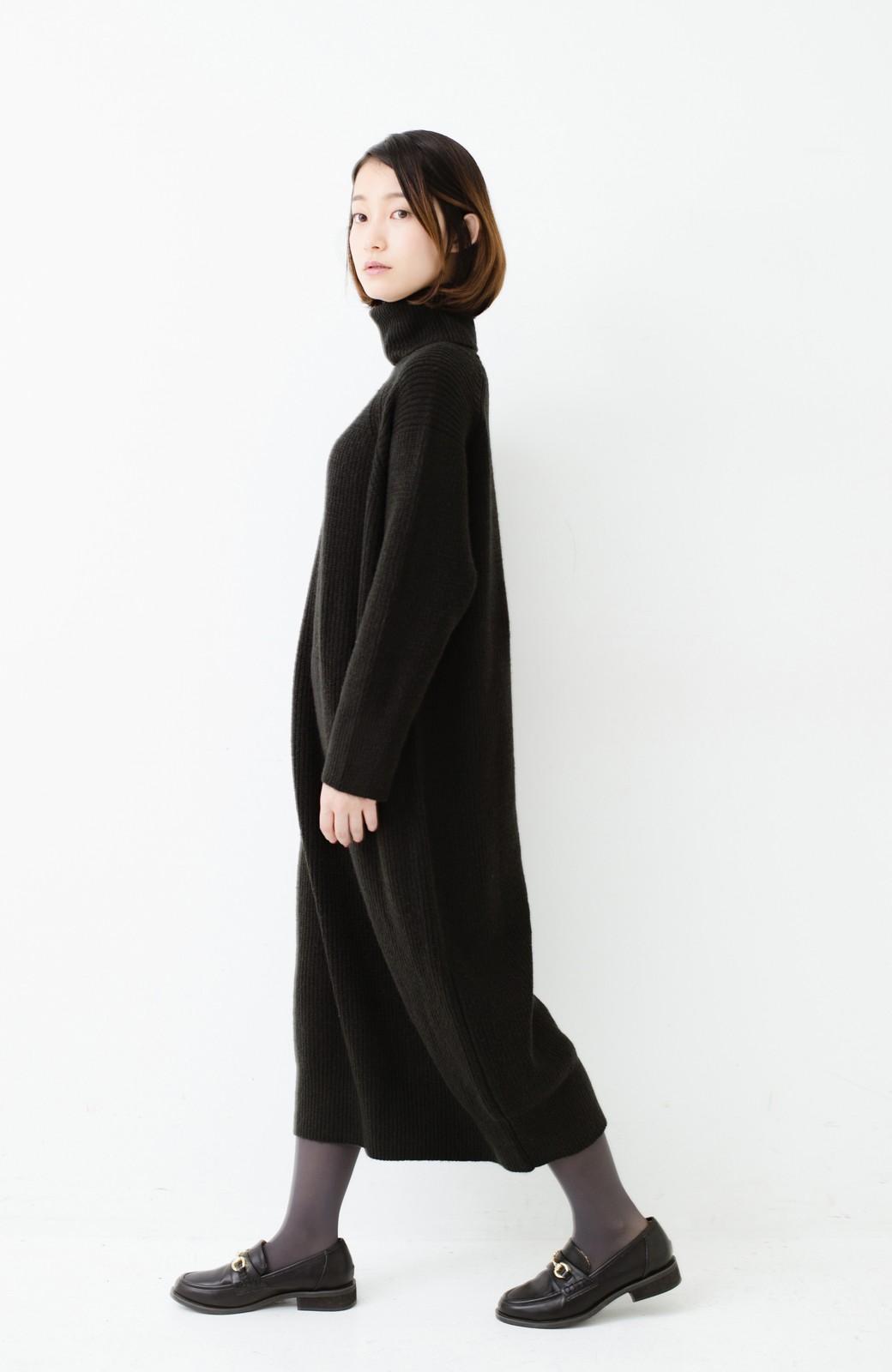 haco! 今っぽ女っぽ ベルト付きゆるタートルニットワンピ <ブラック>の商品写真14
