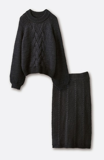 haco! ケーブル編みがかわいい万能ニットアップ <ブラック>の商品写真