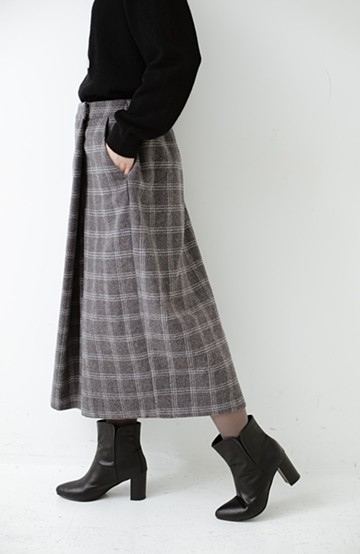 haco! スカート気分ではけて動きやすい 大人チェックスカーチョ <グレー>の商品写真