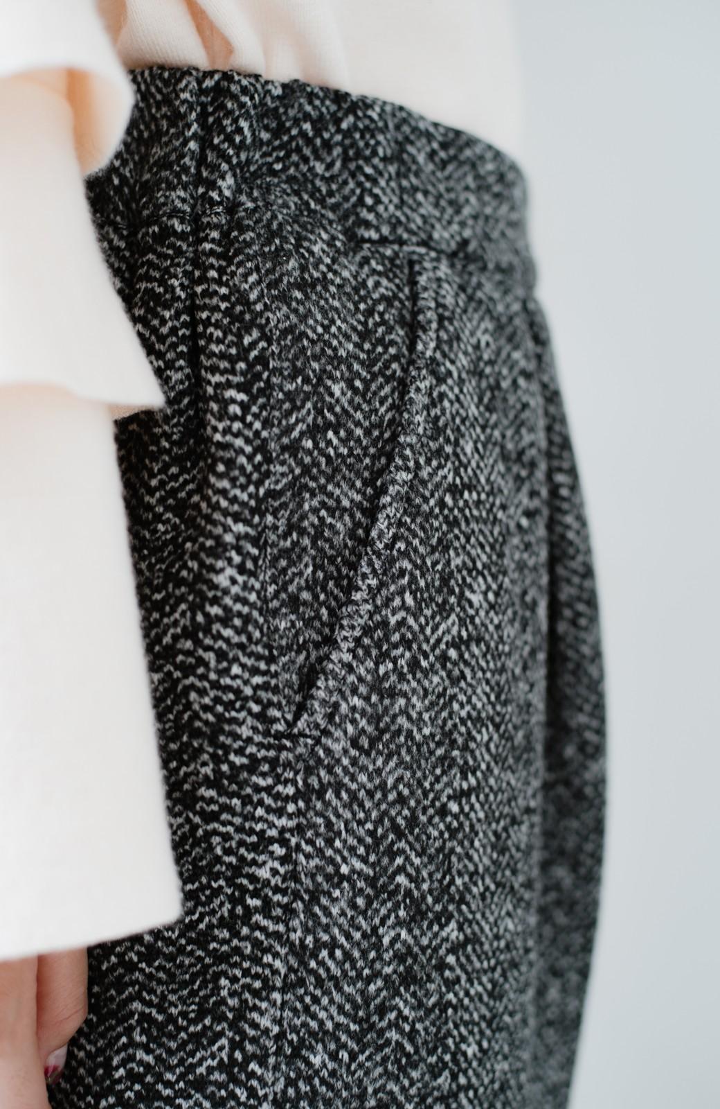 haco! きれいに見せつつ実は暖かい ヘリンボーンプリントワイドパンツ <ホワイト×ブラック>の商品写真12