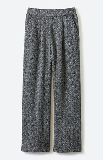 haco! きれいに見せつつ実は暖かい ヘリンボーンプリントワイドパンツ <ホワイト×ブラック>の商品写真