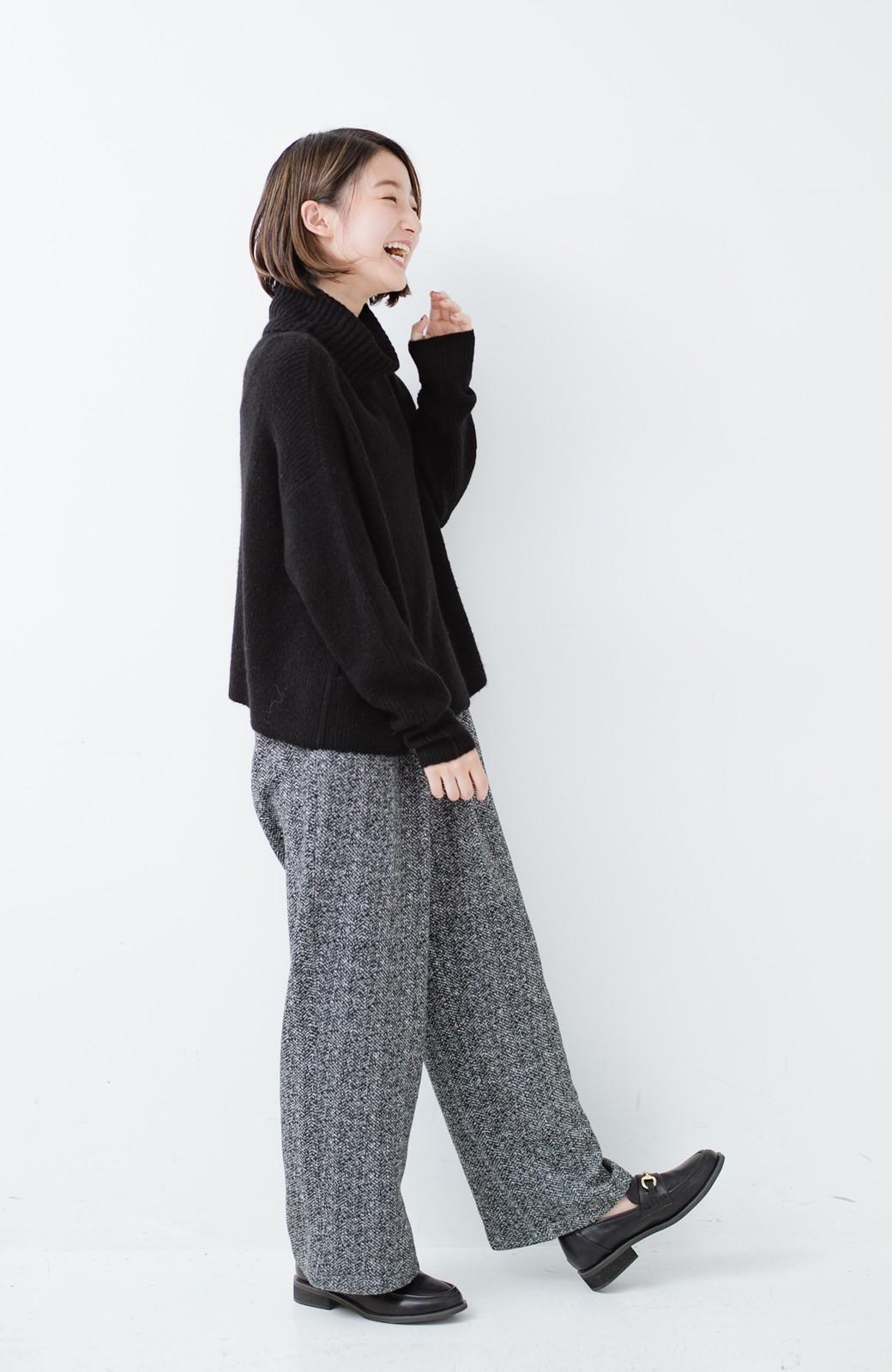 haco! きれいに見せつつ実は暖かい ヘリンボーンプリントワイドパンツ <ホワイト×ブラック>の商品写真24