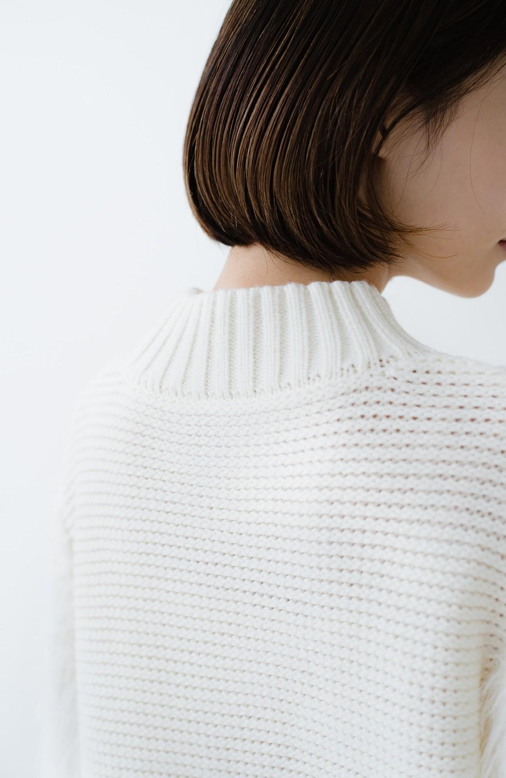 haco! ケーブル編みの袖フェザーヤーンニットトップス <ホワイト>の商品写真3