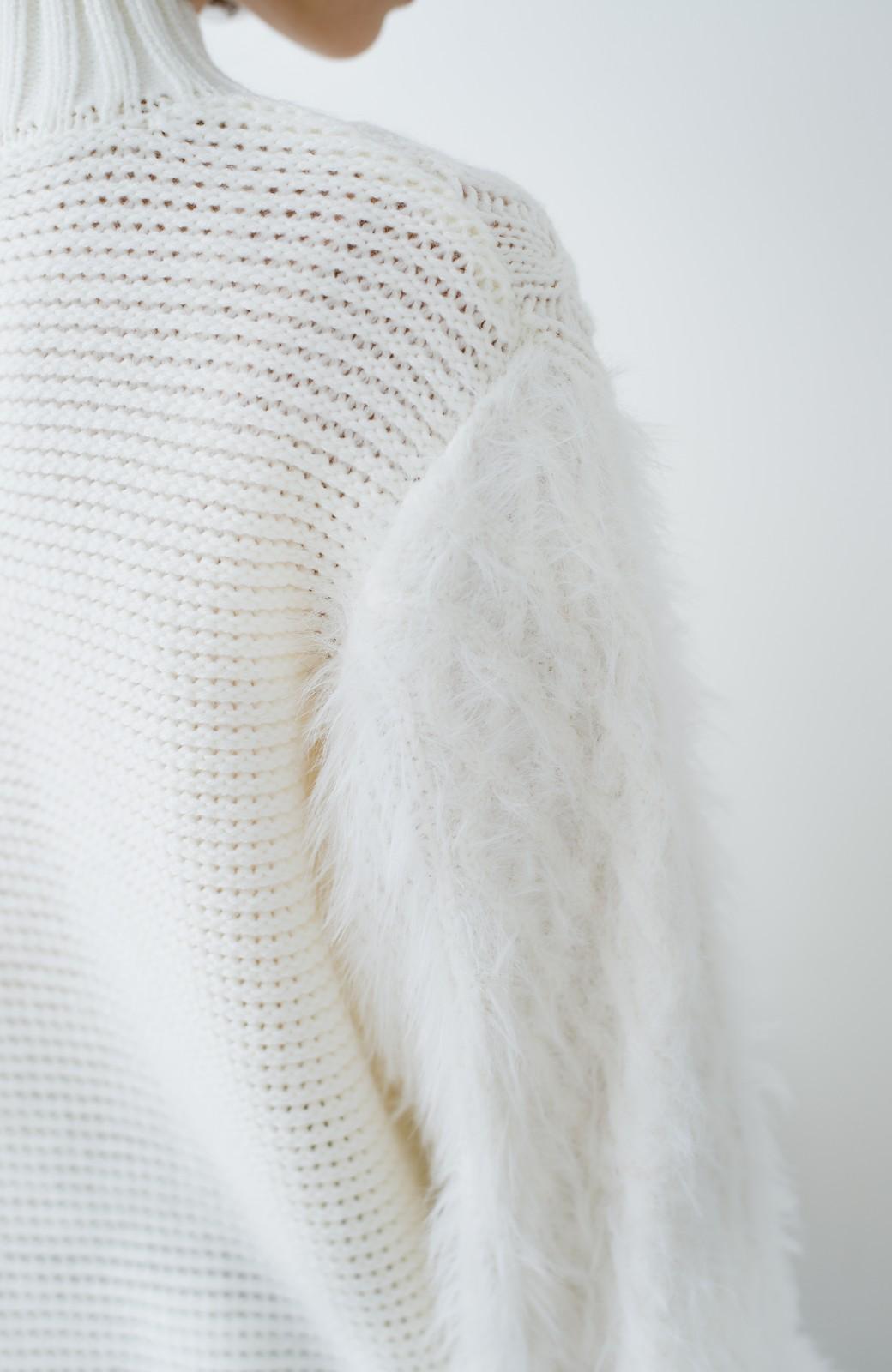 haco! ケーブル編みの袖フェザーヤーンニットトップス <ホワイト>の商品写真4