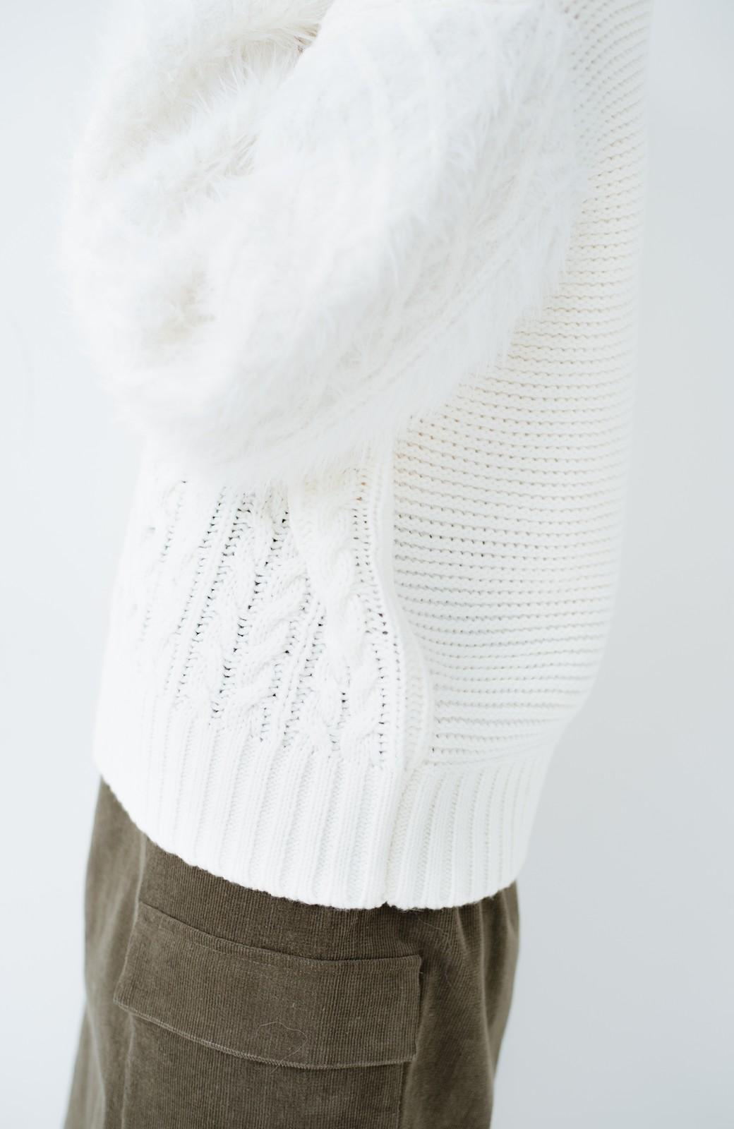 haco! ケーブル編みの袖フェザーヤーンニットトップス <ホワイト>の商品写真6