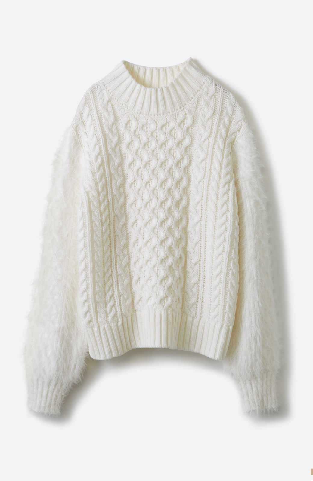 haco! ケーブル編みの袖フェザーヤーンニットトップス <ホワイト>の商品写真2